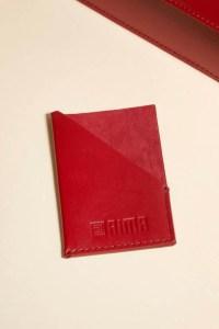 porte cartes cuir rouge