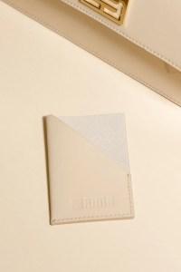 beige leather card holder