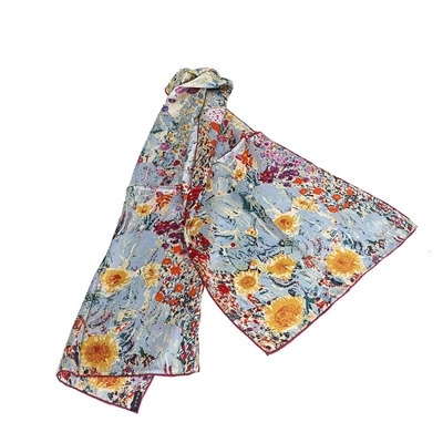Silk Scarf Gustav Klimt Design Farmgarden with Sunflowers