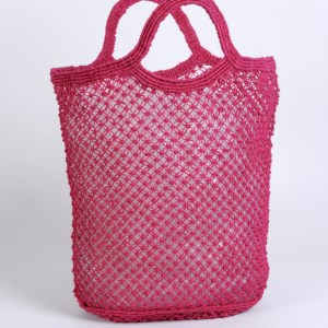 Jute macrame shopping bag fuschia