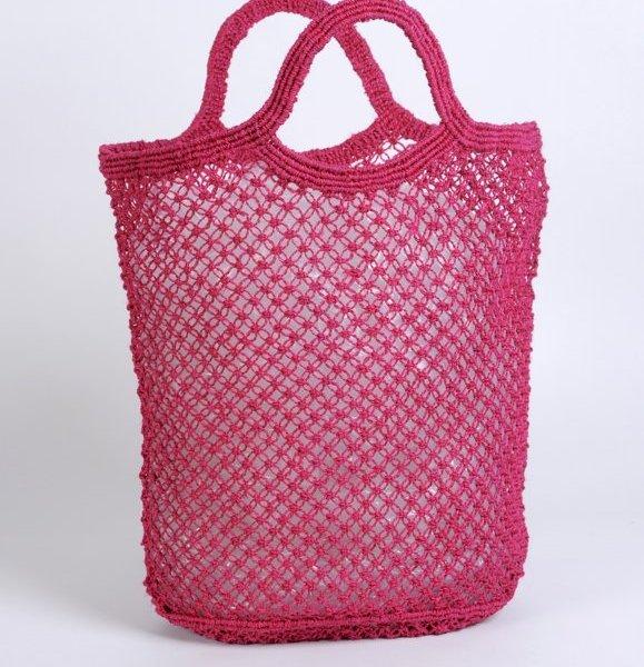 Jute macrame shopping bag fuschia