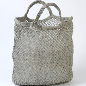 Jute macrame shopping bag grey