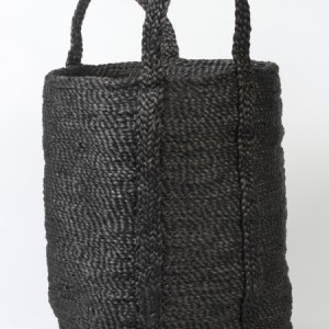 Small round jute basket charcoal