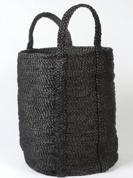 Small round jute basket charcoal