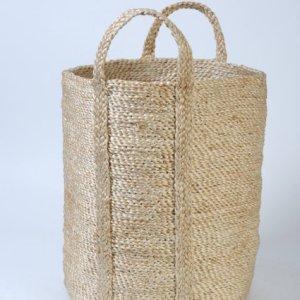 Small round jute basket natural