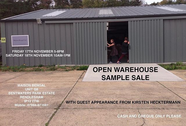 Save the dates - Open warehouse Sample Sale - See you there!