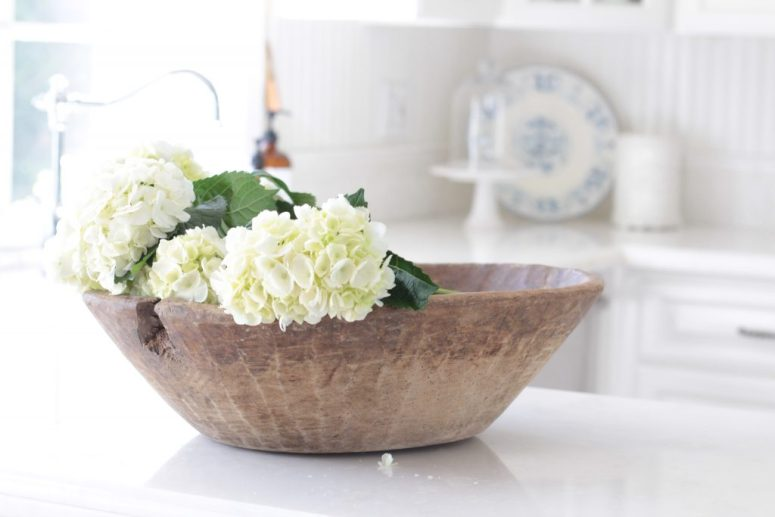 white-hydrangeas-dough-bowl-kitchen