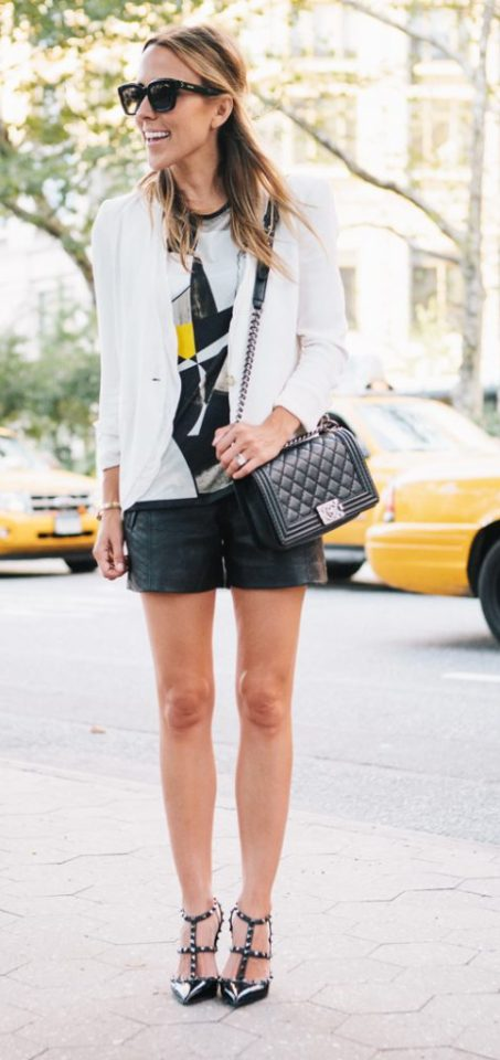 dressy shorts black with white blazer graphic top sunglasses summer street style
