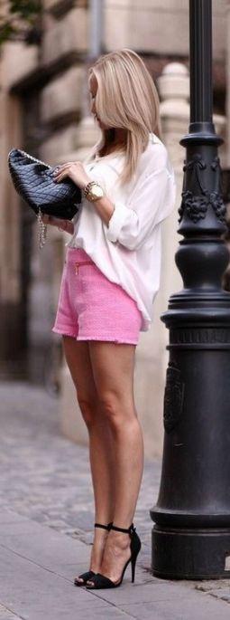 dressy shorts pink white blouse black heels chic summer fashion