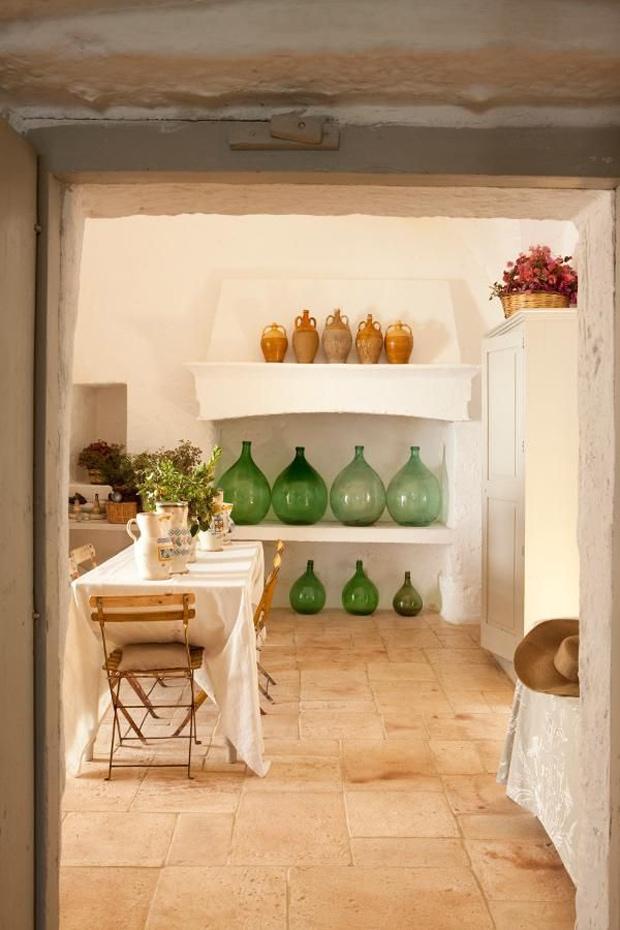 green-antique-demijohns-rustic-kitchen