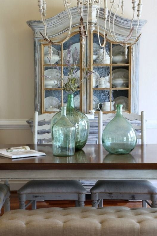green-antique-demijohns-dining-table