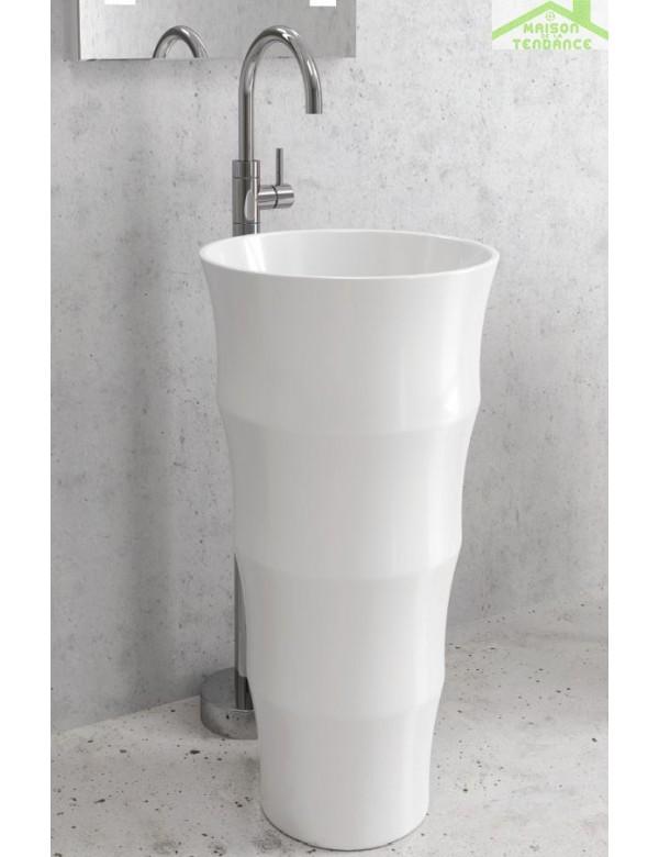 Vasque Totem Colonne Ronde 55x51x85 Cm En Ceramique