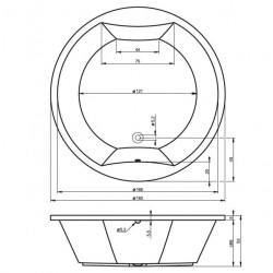 grande baignoire ronde acrylique riho duo colorado 180x180 cm avec 4 appui tete