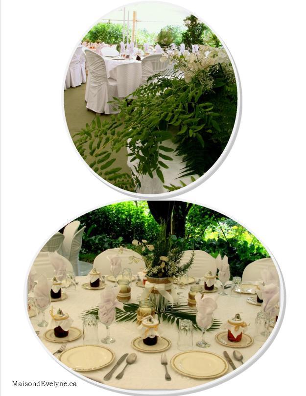 Quelques fougères et feuilles dattier déposés sur la table ainsi que de s petits pots Masson emplis de bonne confiture maison à offrir aux invités , complète la décoration