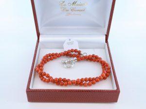 Bracelet en corail rouge véritable de Méditerranée et argent 925 par 1000 BR-CO-AR-039