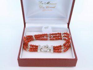Bracelet en corail rouge véritable de Méditerranée et argent 925 par 1000 BR-CO-AR-042