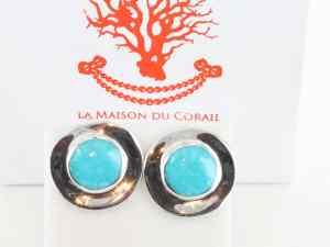 Boucles d'Oreilles en turquoise véritable et argent 925 1000 BO-TU-AR-016