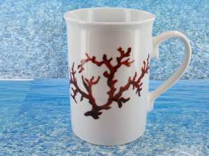 Pot à lait en porcelaine blanche décor corail PO-BL-CO-003 corail PO-BL-CO-027