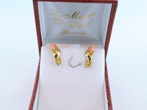 Boucles oreilles en corail rose et plaque or BO-CO-RO-002