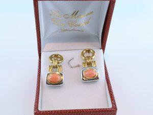 Boucles oreilles en corail rose et plaque or BO-Boucles oreilles en corail rose et plaque or BO-CO-RO-007