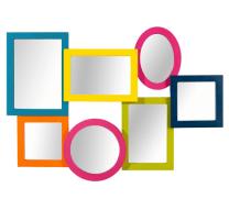 Farbenmix: bunter Spiegel ca. 20€