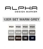 Montana Alpha marker set 12 – warm grey
