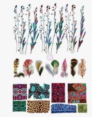 Kleurige transfer met bloemen en veren