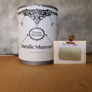 Olive Green Metallic muurverf 1 liter Maisonmansion