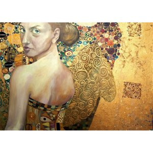 Beautiful Woman in Gold decoupage