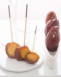 Le moelleux de la datte et du foie gras s'accordent parfaitement dans une bouchée finement sucrée/salée