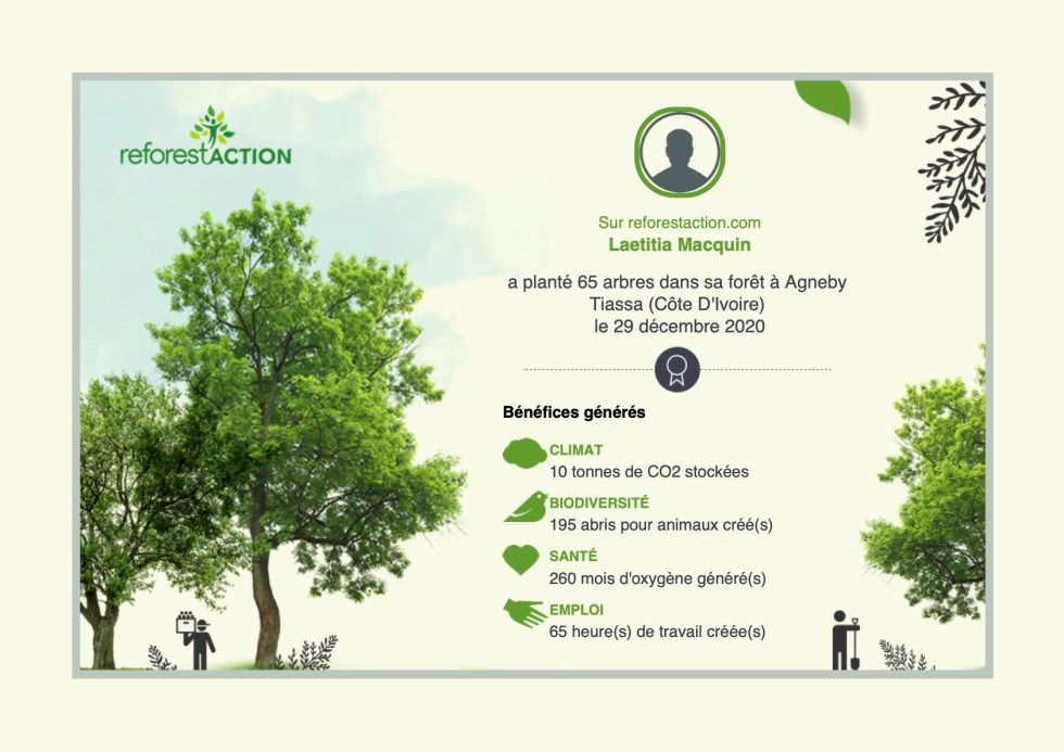 certificat de don à reforest'action