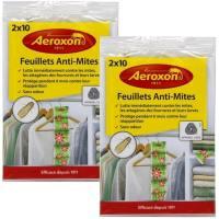 Aeroxon - Feuillets Anti Mites des vêtements vestimentaires 2 x 10 Feuilles 18 x 13 x 4 cm (Lot de 2 Paquets = 40 Feuilles)