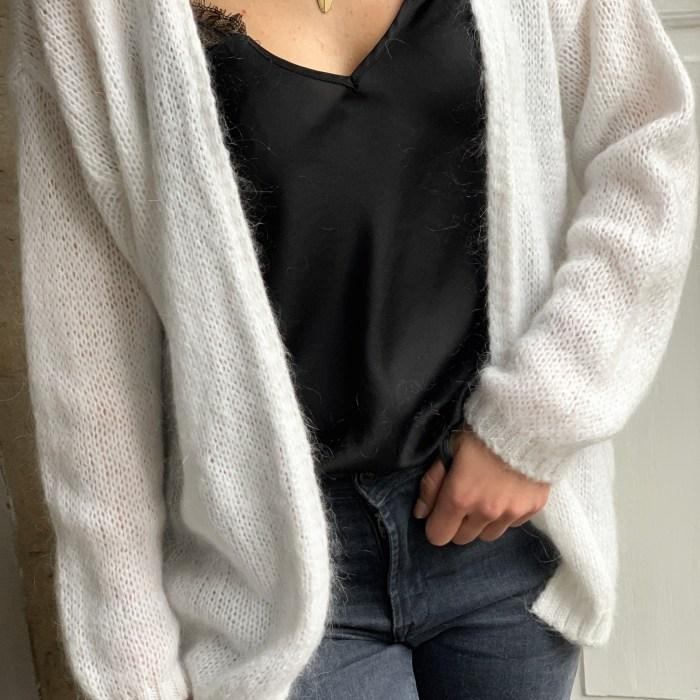 Gilet-Camel-maille-mohair-laine-blanc-noir-rose