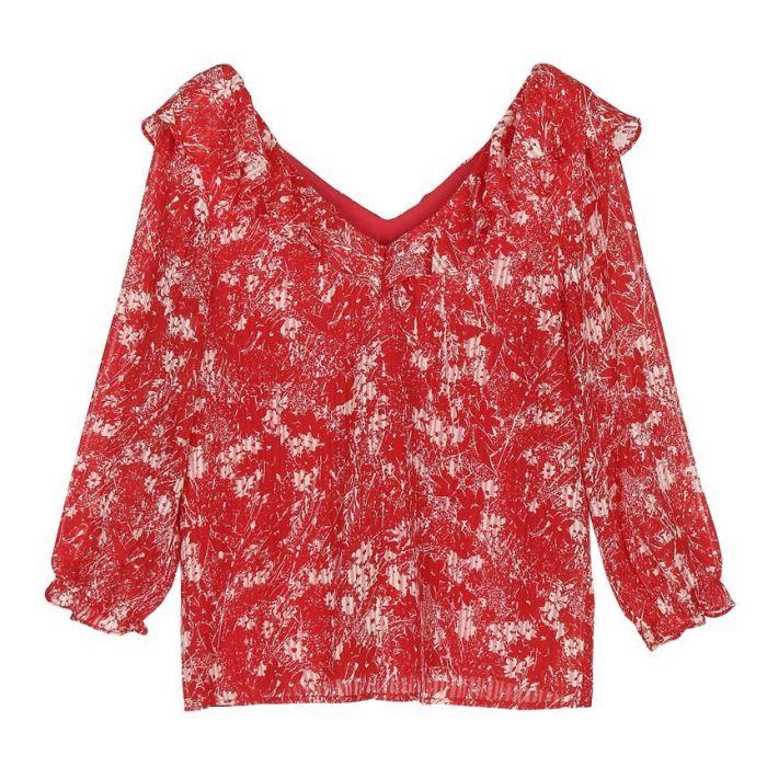 garance, garance paris, top, imprimé rouge, décoleté reversible, féminin, blouse feminine, imprimé estival, imprimé fleuri,