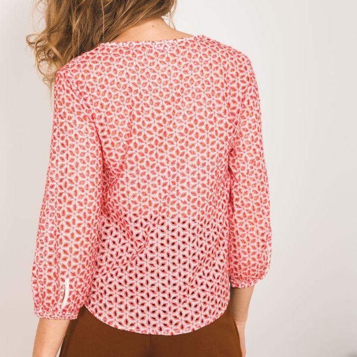 Garance, garance paris, chemise, blouse rouge, motifs rouge, blouse manche longue, blouse fluide