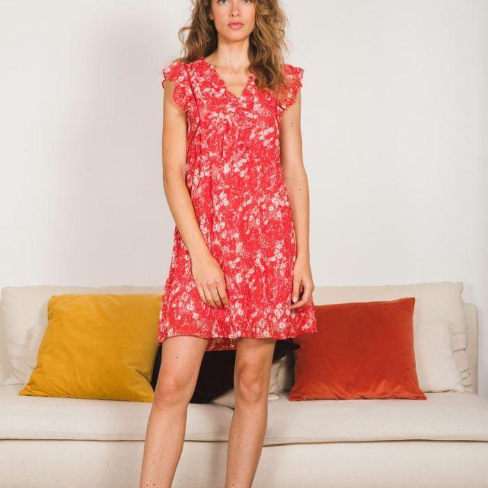 garance paris, garance, prêt à porter femme, robe, robe rouge, imprimé fleuri, imprimé rouge, robe fluide, robe d'été, maison prune, maison prune nantes, maison prune bordeaux