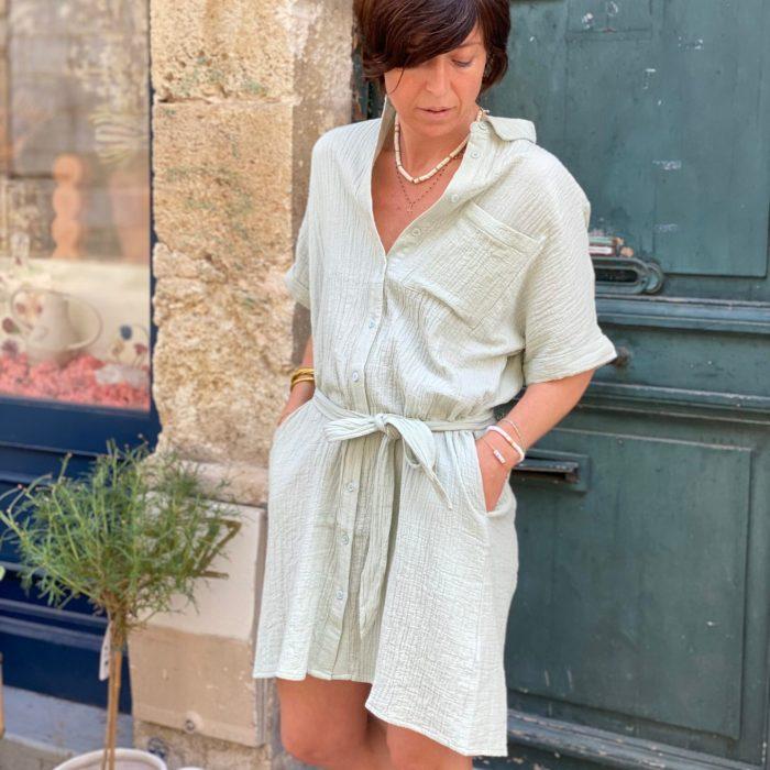 robe aruba, robe frnch, robe vert pistache, robe gaze de coton