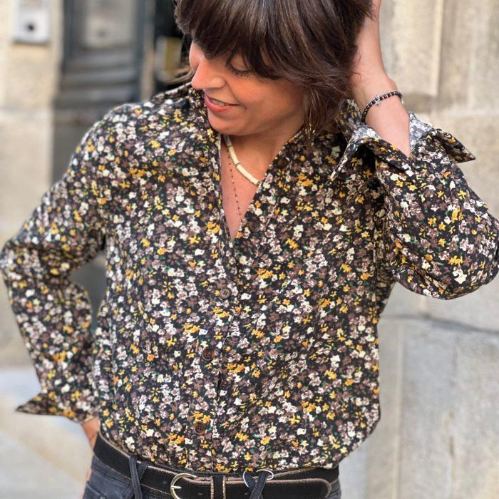 chemise en velours, velours fleuri, garance paris