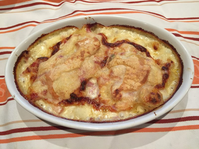 Tartiflette     potatoes  bacon and Reblochon   Maison Travers Who would believe that the Tartiflette  a dish well anchored in french  gastronomy  only appeared in 1980 s  This recipe  originating in Savoie  in  the Alps