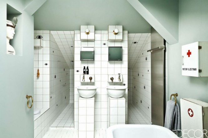 Elle Decor Bathrooms With Marble Mosaic Tiles Bathroom Contemporary And Master Ideas