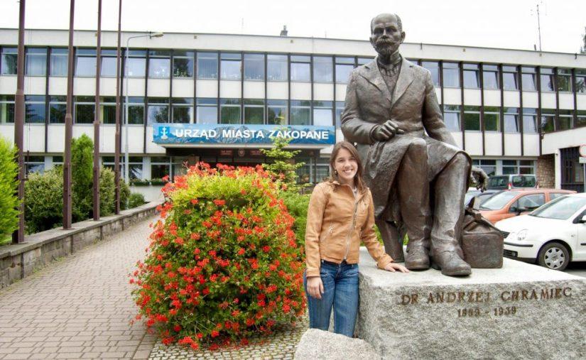Estátua em Zakopane, Polônia, Doutor Andrzej Chramiec