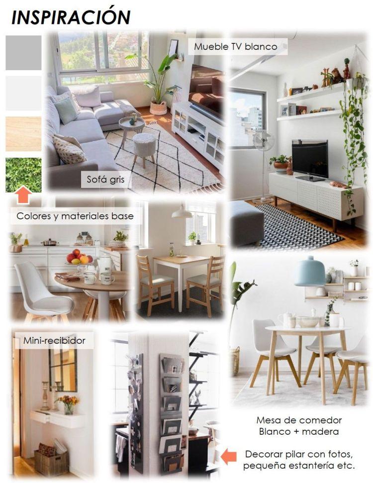 propuesta decorativa para recibidor, salón y cocina 1