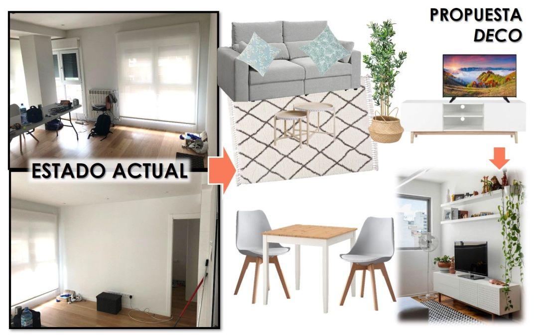 Una propuesta decorativa para recibidor, salón y cocina: la solución que necesitaban Paula e Iñaki