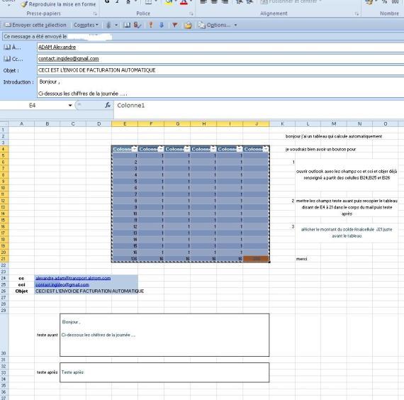 EXCEL OUTLOOK – Envoi mail: Macro excel envoi email avec tableau corps du message