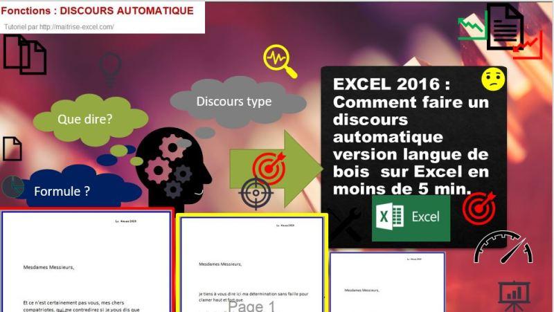EXCEL 2016 : Comment faire un discours automatique version langue de bois  sur Excel en moins de 5 min.