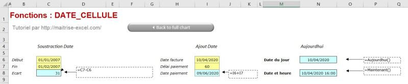 Exemple Excel ajout,différence de date