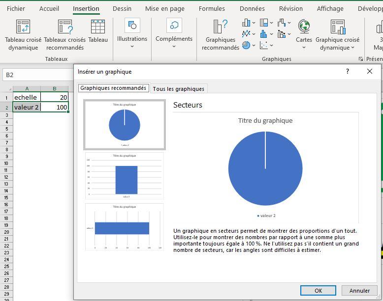 Comment faire un graphique design sur Excel : insérer graphique empilé