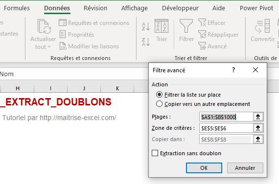 Excel : Extraction dans la feuille active version manuelle