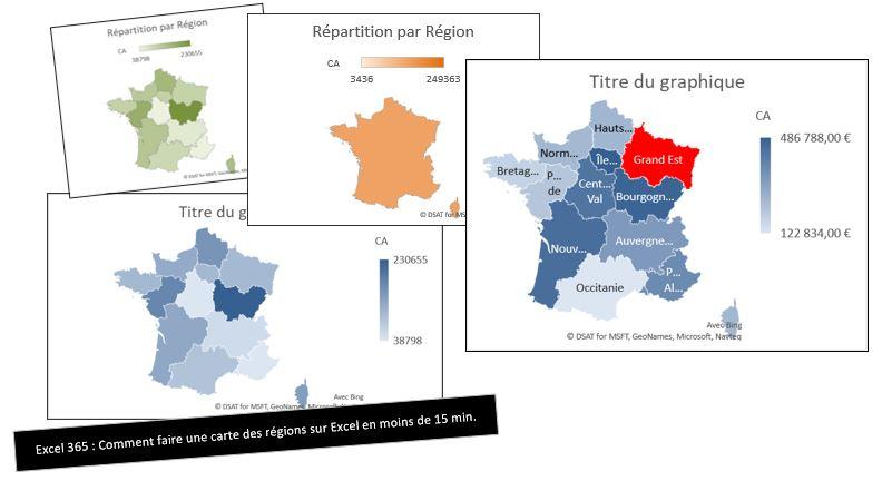 Excel 365 : Comment faire une carte Chroplète des régions France sur Excel en moins de 15 min.