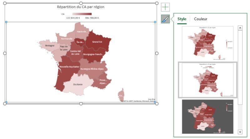 Excel 365 : Comment faire une carte des régions Française sur Excel en moins de 15 min : exemple de style